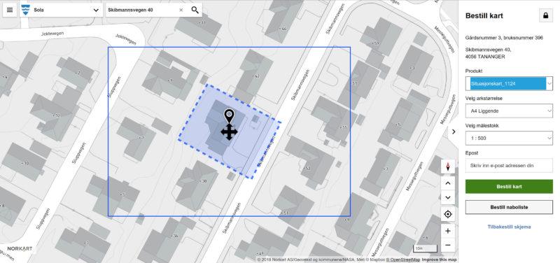 Bestille situasjonskart - Sola kommune