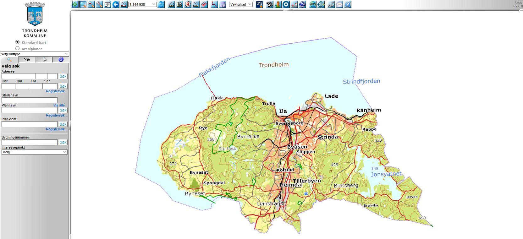 Kart over Trondheim